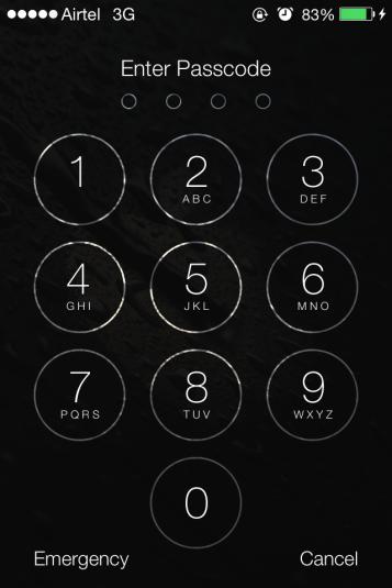 iOS 7: Lock Code screen